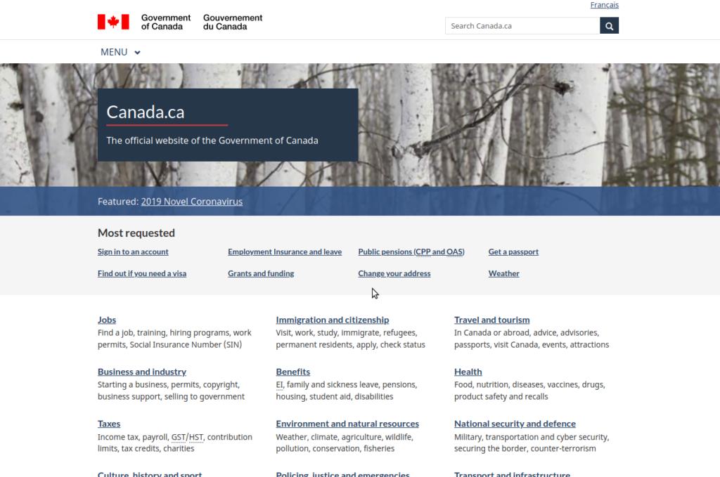 カナダ政府公式ウェブサイト