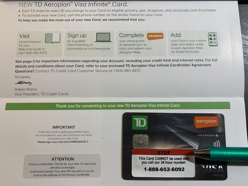 TD Visa infinity card