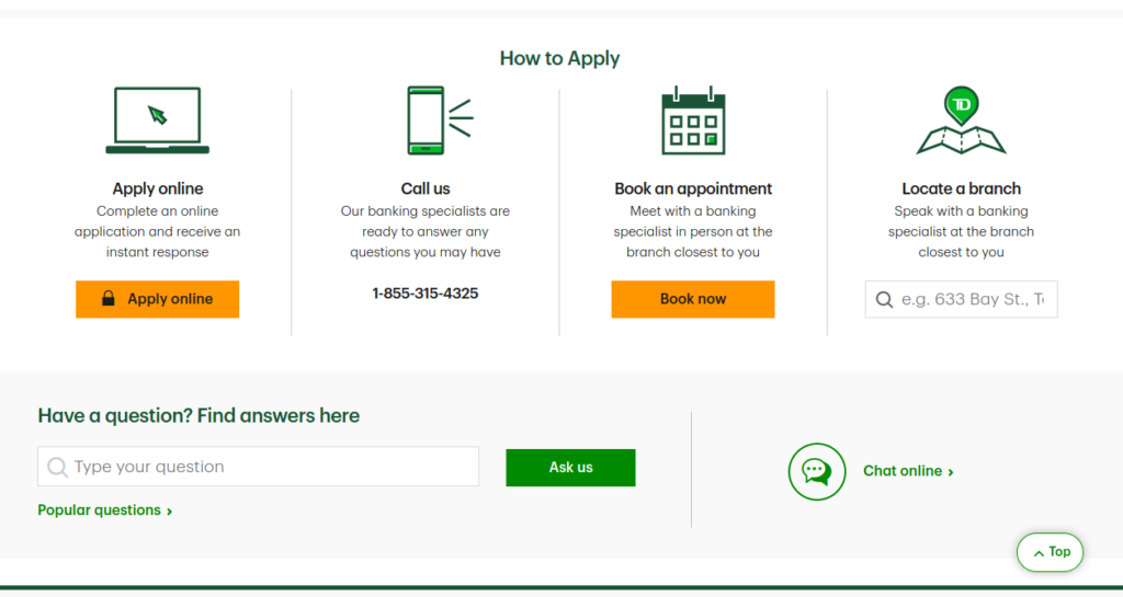 TD Website apply credit card