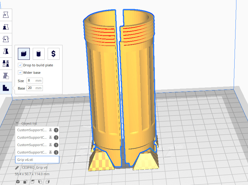 Custom supports プラグインで手動でサポート材を設定